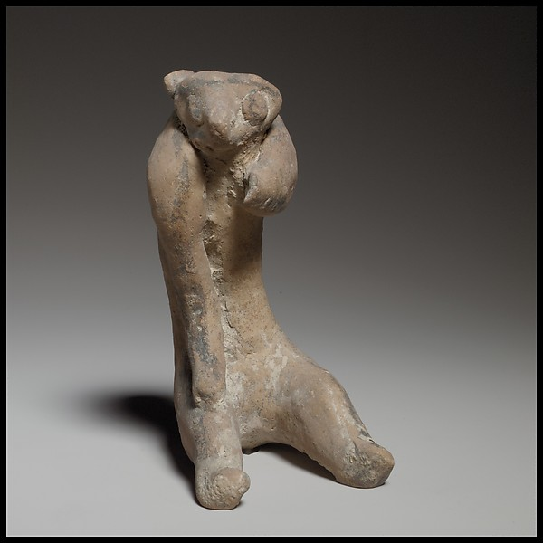 Terracotta statuette of a monkey or bear