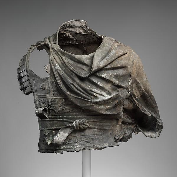 Bronze torso from an equestrian statue wearing a cuirass
