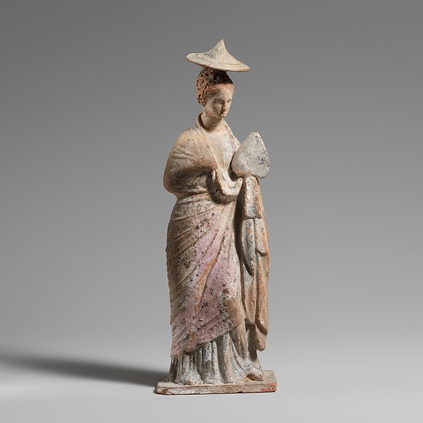 Terracotta statuette of a draped, standing woman