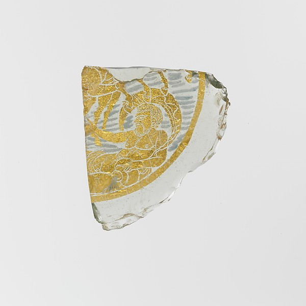 Glass bowl fragment with gold leaf and painted decoration