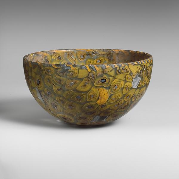 Glass mosaic hemispherical bowl