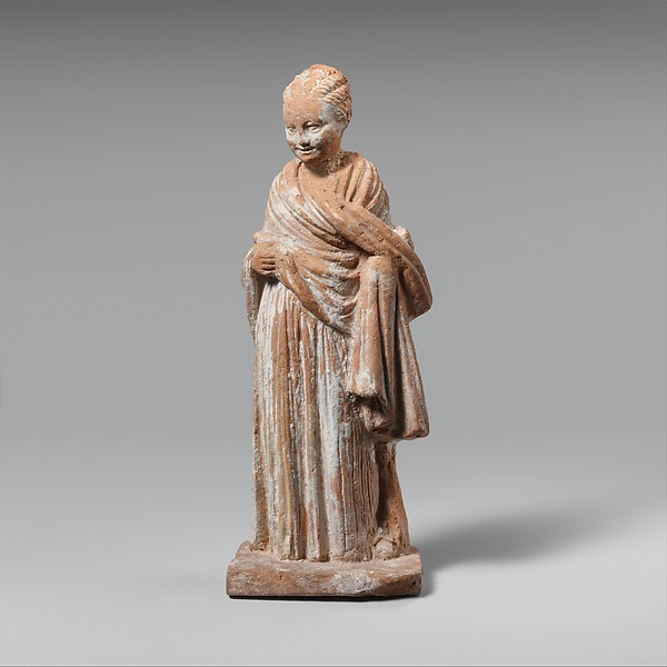 Terracotta statuette of a standing girl