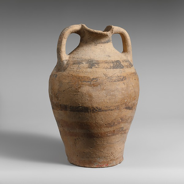 Terracotta oval-mouthed amphora