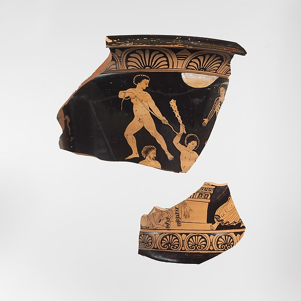 Fragments of a terracotta calyx-krater (mixing bowl)