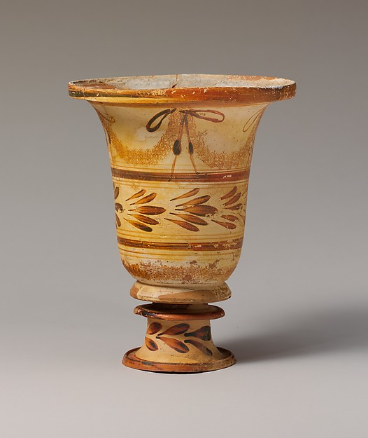 Terracotta flaring bowl on stand