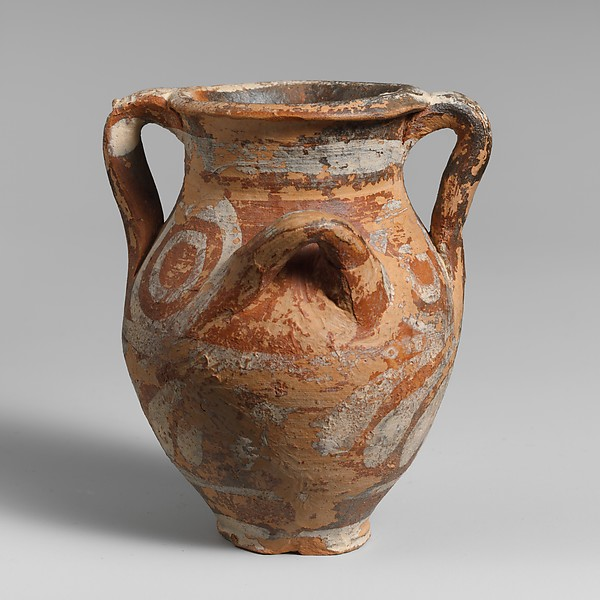 Small terracotta jar with four handles
