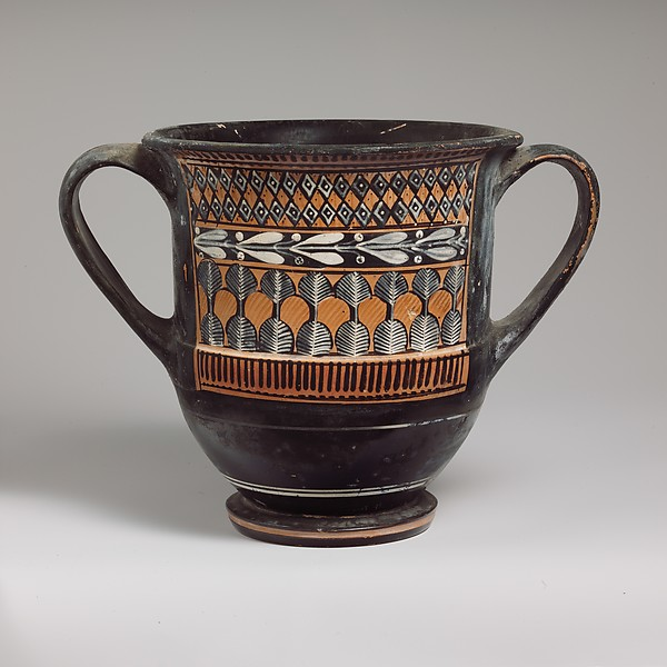 Terracotta sessile kantharos (deep cylindrical drinking cup with two handles)