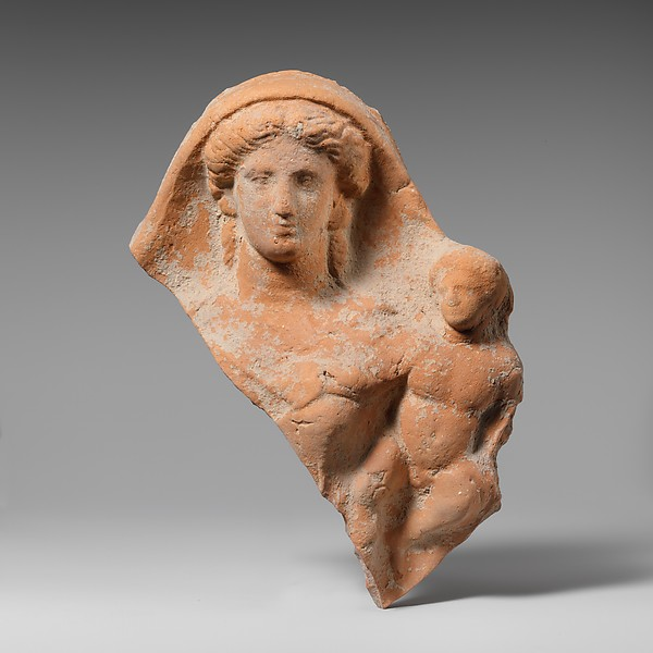 Fragment of a terracotta relief of a woman and child