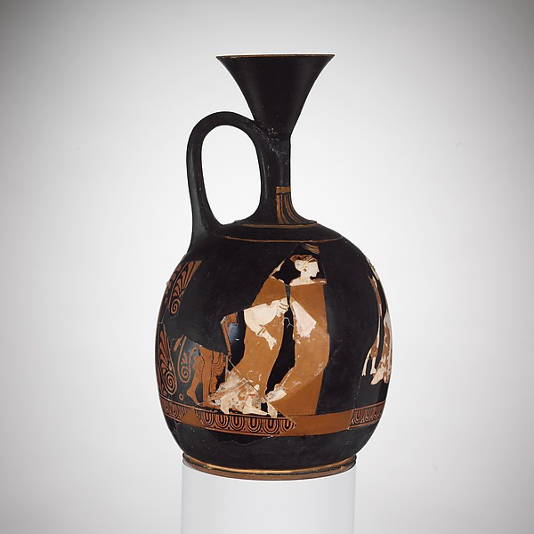 Terracotta squat lekythos (oil jar)