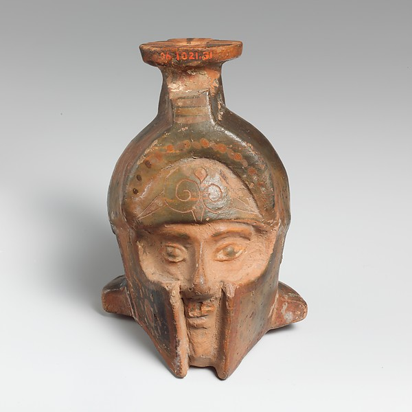 Aryballos (perfume flask) in the form of a helmeted head