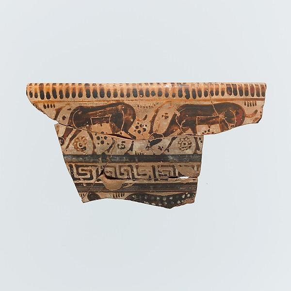 Fragment of a terracotta krater (mixing bowl)
