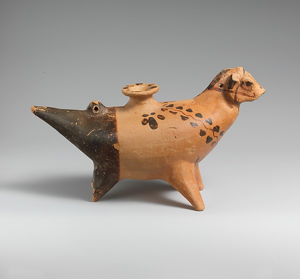 Terracotta vase in the form of a three-legged horse