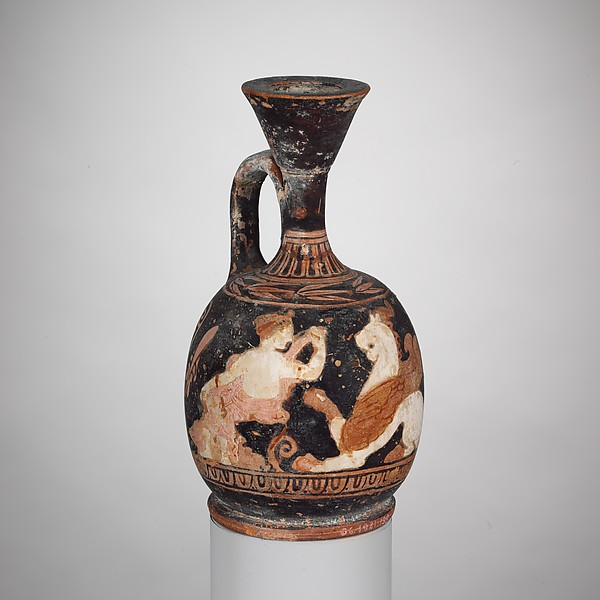 Terracotta squat lekythos (oil jar)