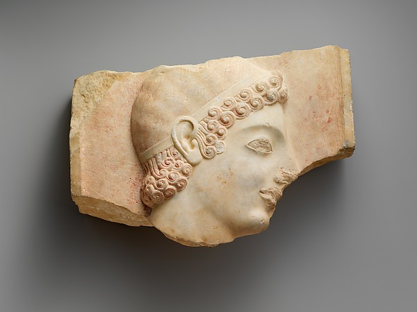 Head of a youth from a marble stele (grave marker)