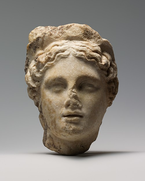 Marble head of a woman wearing a diadem