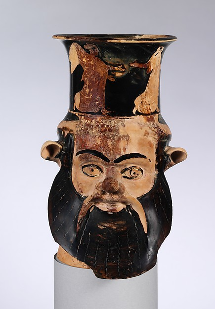 Terracotta mug in the form of a satyr's head