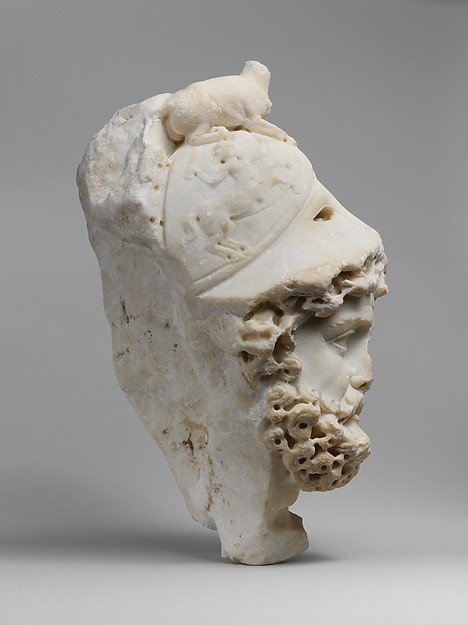 Marble relief fragment with the head of Mars