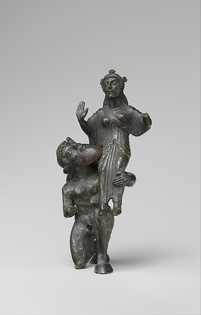 Bronze statuette of a satyr and maenad