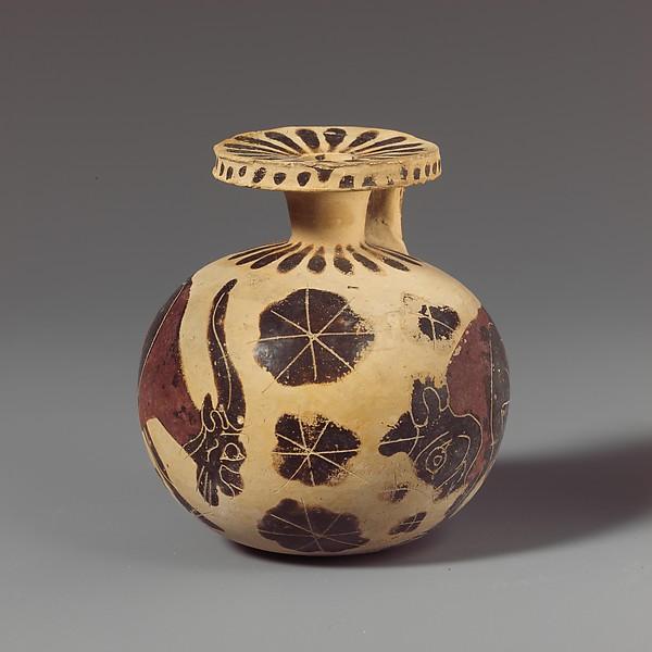 Terracotta aryballos (oil flask)