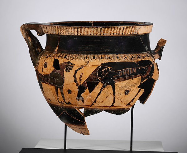 Terracotta krater (bowl for mixing wine and water) of Chalcidian shape