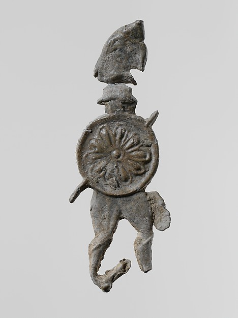 Lead figure of a warrior with a helmet and shield