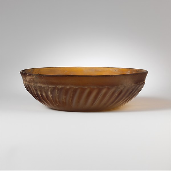 Ribbed glass bowl