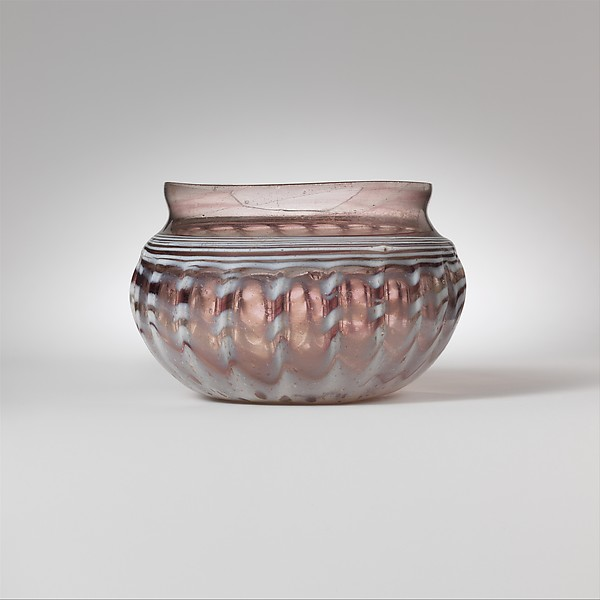 Glass ribbed bowl