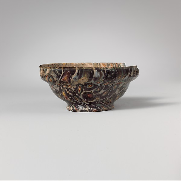 Mosaic glass carinated bowl