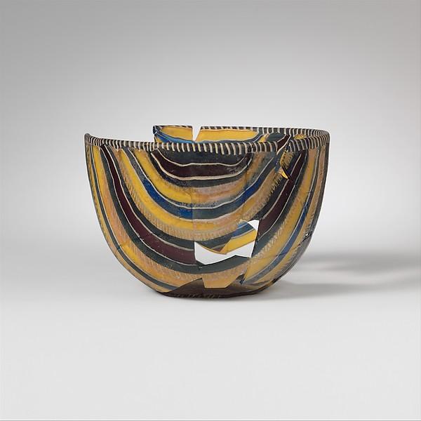 Striped mosaic glass bowl