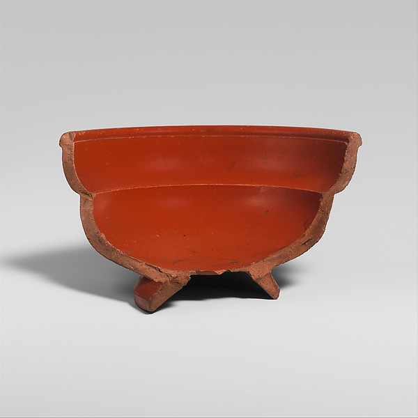 Fragmentary terracotta bowl