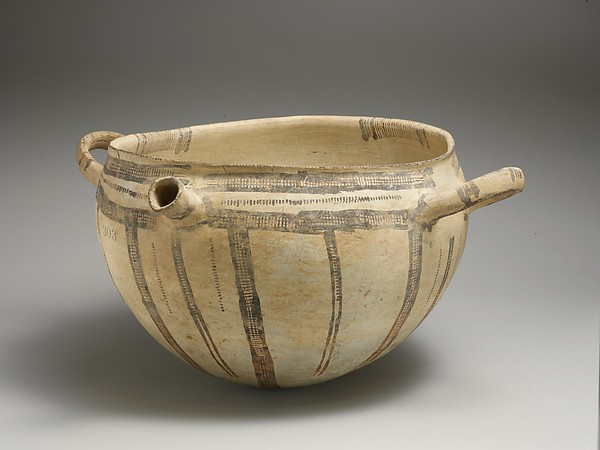 Terracotta two-handled bowl with spout