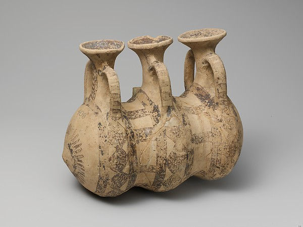 Terracotta composite triple flask