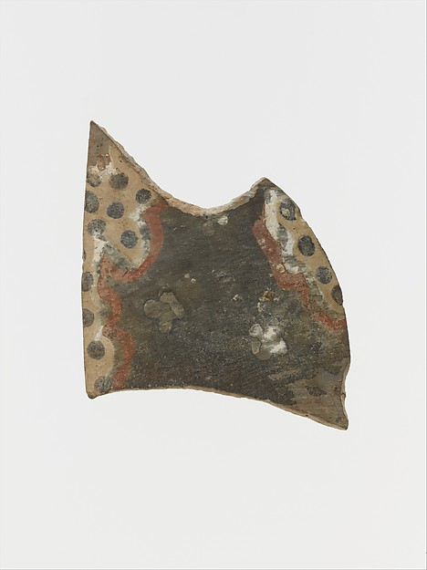 Terracotta vessel fragment with polychrome motifs