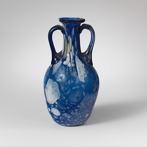 Glass two-handled bottle (amphora)