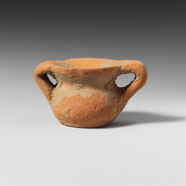 Terracotta miniature vase with two handles