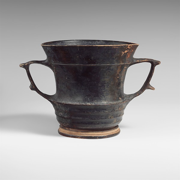 Terracotta kantharos: karchesion (deep cylindrical drinking cup)