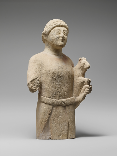 Limestone statuette of a male votary (worshipper)