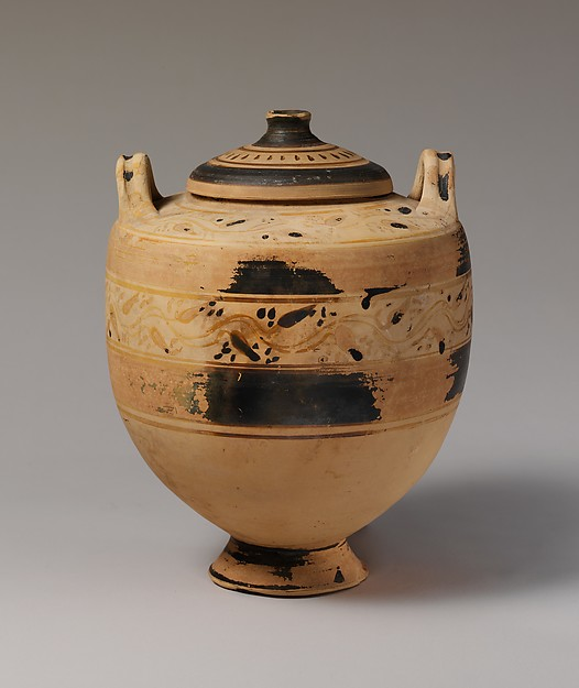 Terracotta lebes gamikos (jar) and lid