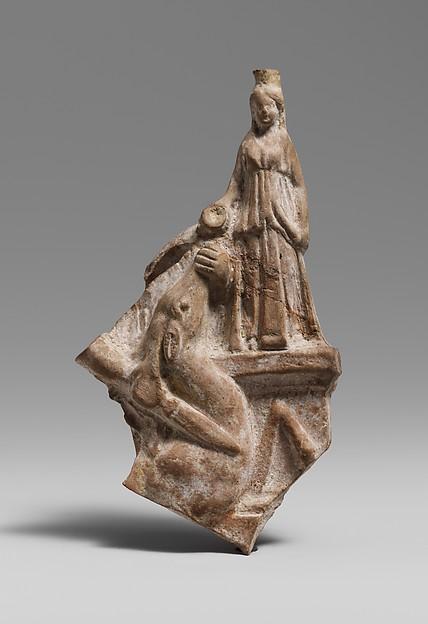 Terracotta statuette fragment of a deer sacrificed at an altar to Artemis
