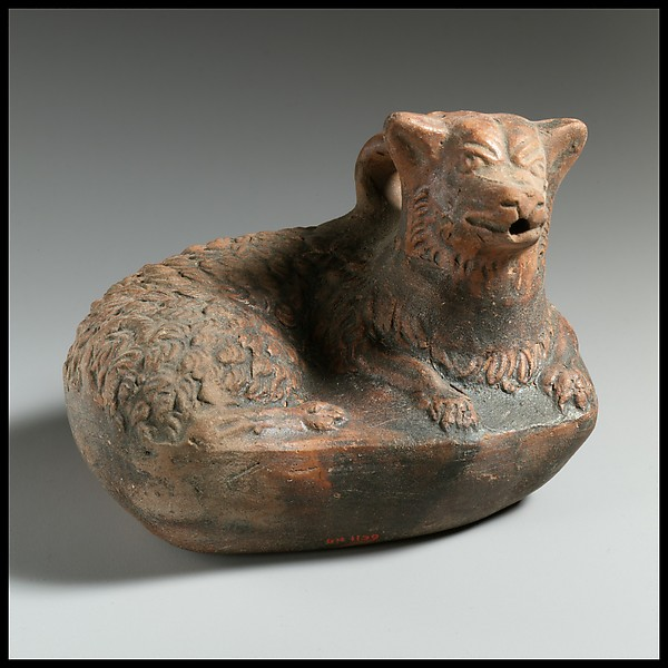 Terracotta askos in the form of a dog