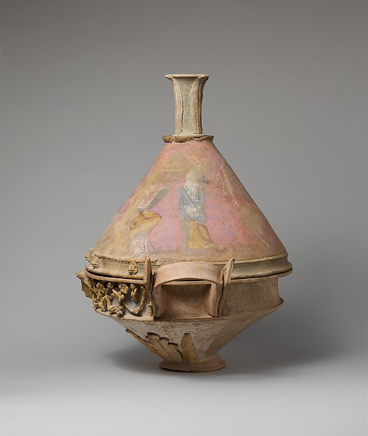 Terracotta lekanis (dish) with lid and finial