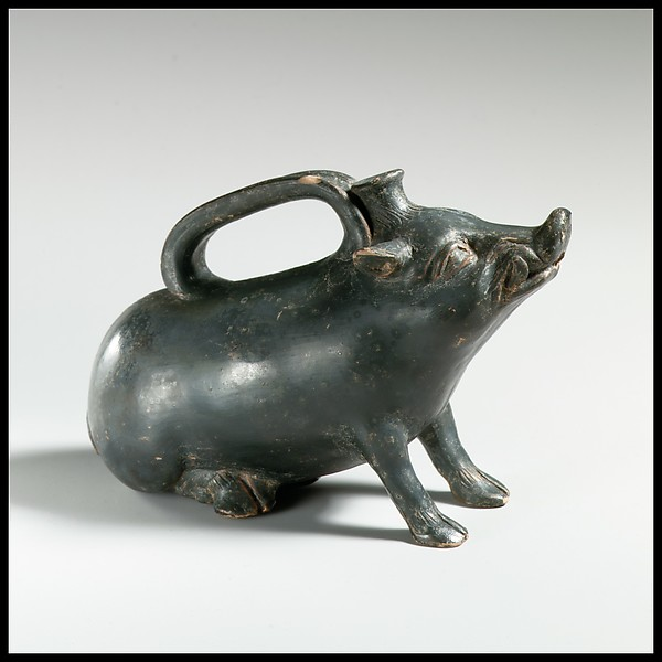 Terracotta askos in the form of a boar