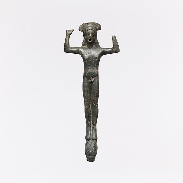 Bronze handle of a patera (shallow basin) in the form of a youth