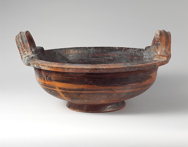 Terracotta deep bowl with vertical handles