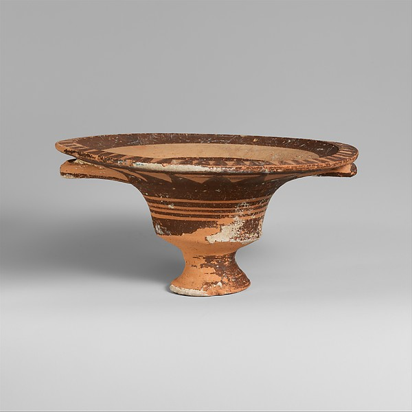 Terracotta stemmed dish with two handles