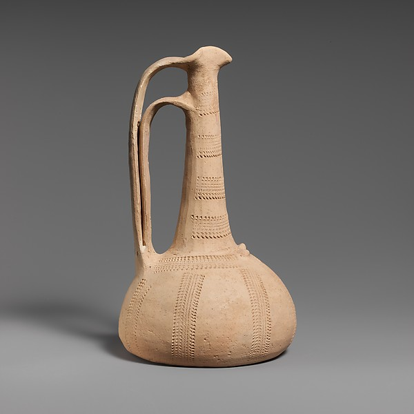 Terracotta conical lekythos-oinochoe (combination oil flask and jug)