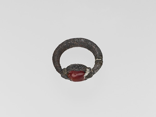 Silver ring with carnelian scarab