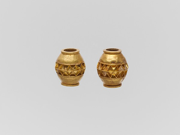 Two gold beads