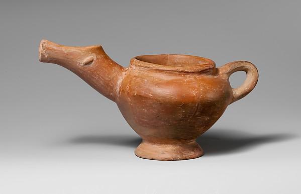 Terracotta side-spouted jug