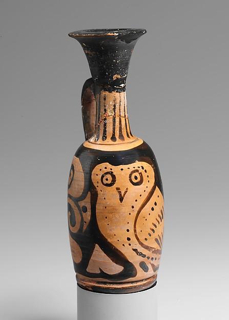 Terracotta lekythos (oil flask) with an owl